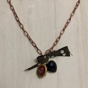 Bronze Chain Pendant Necklace with Polka Dot Bow